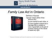 Family Law Act in Ontario Definition of Spouse: