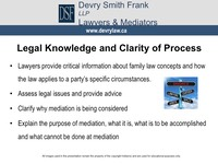 Legal Knowledge and Clarity of Process  Lawyers provide critical information about family law concepts and how the law applies to a party's specific circumstances. 