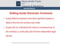 Setting Aside Domestic Contracts