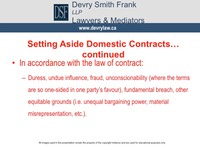 Setting Aside Domestic Contracts... continued