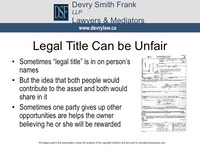 Legal Title Can be Unfair